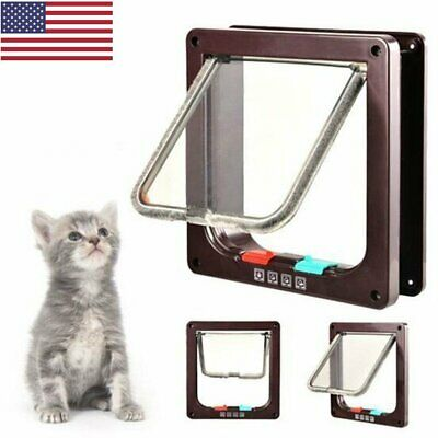 4 Way Locking Waterproof Pet Doors Interior Exterior Cat Flap Door for Cats US