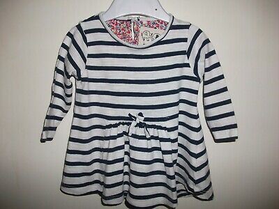 Next Baby Girls Navy Blue & White Long Sleeved Striped Dress - Age 0-3 Months