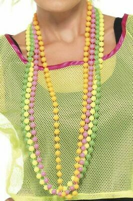 1980's Neon Colourful Beaded Necklace Party Dress Up Accessory Fluro