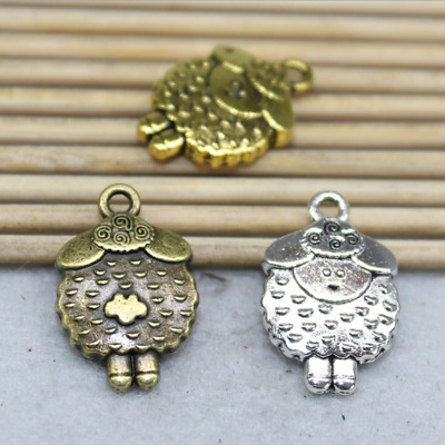 Free shipping 8/24 PCS alloy lovely delicate double-sided sheep charm pendant