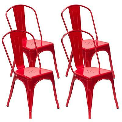 4PCS Industrial Style Dining Side Chair Arm Chairs Stackable Metal Stool Red