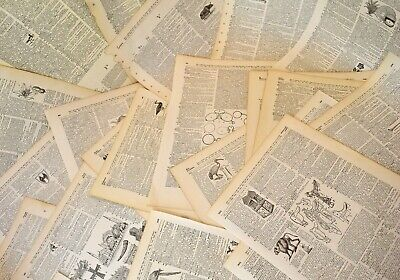 Lot of Antique Dictionary Pages LARGE 11x14 Over 100 Pack Ephemera Junk Journal