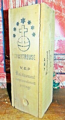 Antique/Vintage Primitive Wood Wooden Box Advertising Crate CHARTREUSE V.I.P
