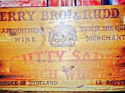 Antique/Vintage Primitive Wood Wooden Box Whiskey Bar Barware Crate Cutty Sark 1