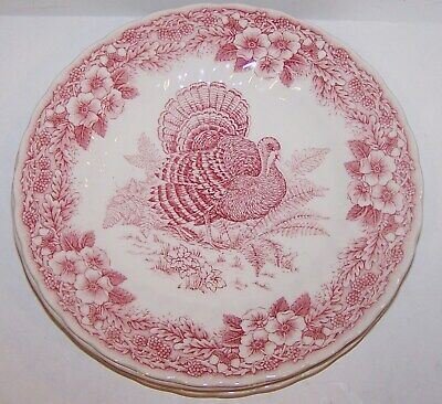 Set Of 4 Churchill England Thanksgiving Myott Factory Archives Red Salad Plates