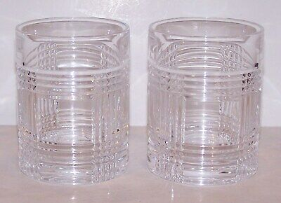 """Pair Of Signed Ralph Lauren Crystal Glen Plaid 4"""" Old Fashioned/Whiskey Glasses"""