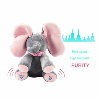 Baby Peek-a-boo Singing Elephant Branded Toy Plush Music Animated Soft Cuddly