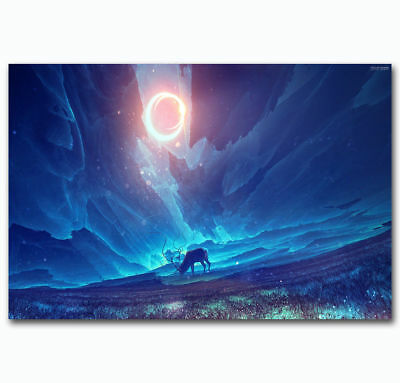 0383D Hot New Deer Starry Night Trippy Psychedelic-Print Art Silk Poster