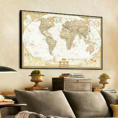 Vintage Retro World Map Antique Paper Poster Wall Chart Home Living Room Decor