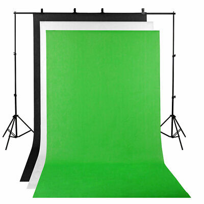 2x3m Backdrop ChromaKey Green Screen Black White Background Stand Photography