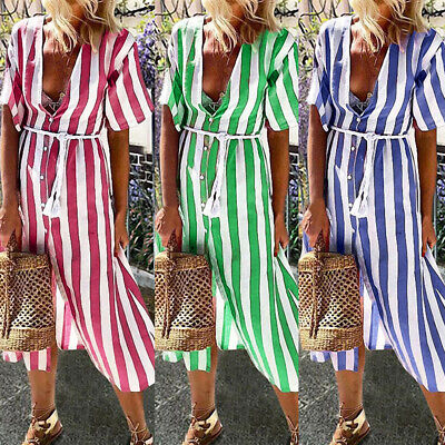 Summer V-Neck Shirt Dress 2019 Short Sleeve Boho Women Casual Striped Maxi Dress