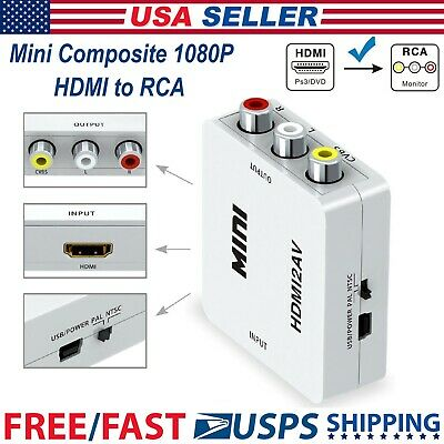 Mini Composite HDMI To RCA 1080P Audio Video AV CVBS Adapter Converter For TV US