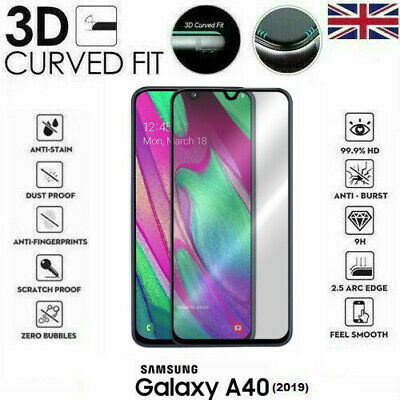For Samsung Galaxy A40 (2019) 3D Tempered Glass LCD Screen Protector Black