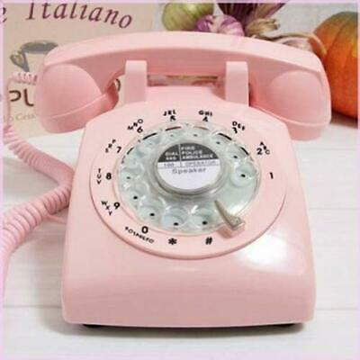 Retro Pink Phone Rotary Dial Vintage Telephone Old Fashioned Desk Office Gifts