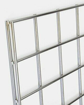 USED SURPLUS GRIDWALL MESH CHROME RETAIL SHOP DISPLAY PANELS 6ft x2ft.
