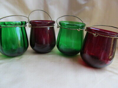 Past Times Set 4 Christmas Garden Lights Votive Candle Holders Glass Boxed
