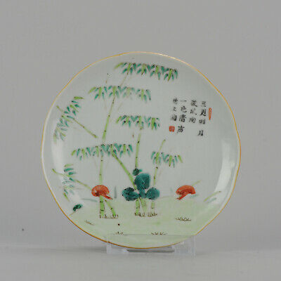 Antique 19C Chinese Porcelain Bamboo Plate Sacred Funghus Calligrapy Mar...