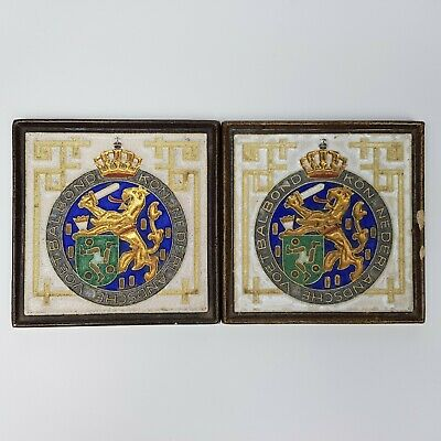 ~ Rare Antique ~ Delft ~ Kon Nederlandsche Voetbalbond ~ 2 x Tiles ~ Dutch FA ~