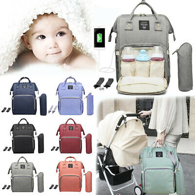 Waterproof Baby Diaper Nappy Mummy Changing Bag Backpack Hospital Bag +Hooks Set