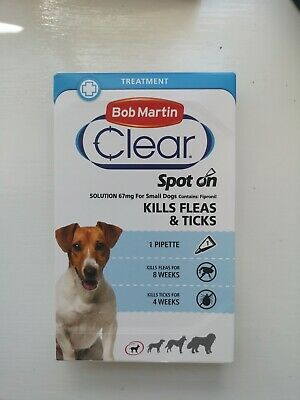 Bob Martin Clear Spot On Fipronil Fleaks & Ticks for Small Dogs Brand New