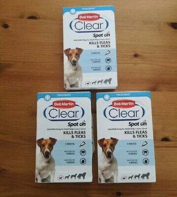 Bob Martin Clear Spot On Fipronil Fleaks & Ticks for Small Dogs Brand New x 3