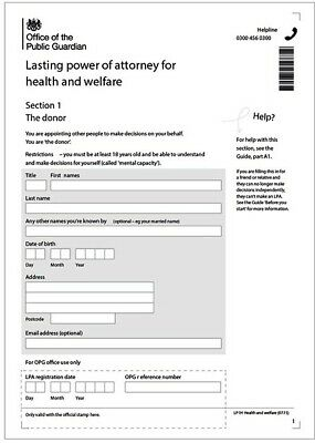 Lasting Power of Attorney (health and welfare) pack of paper forms