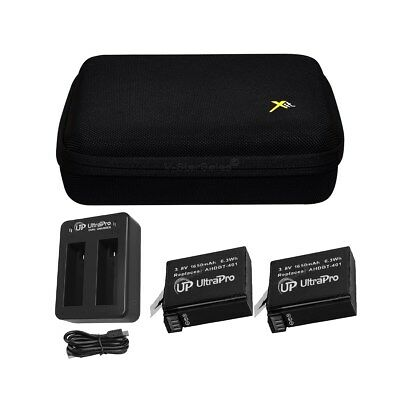 2x AHDBT401 1650mAh Battery and USB Dual Port Charger +Case for Gopro Hero4