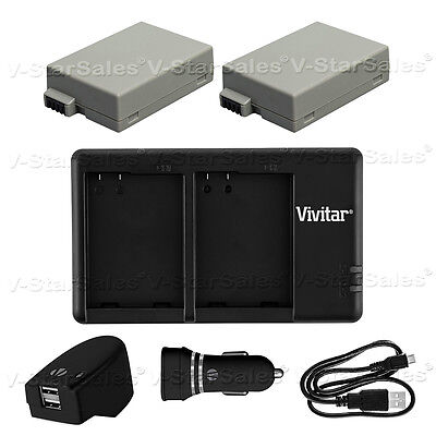 2X LP-E8 Replacement Battery & USB Dual Charger +AC/DC for Canon T2i T3i T4i T5i