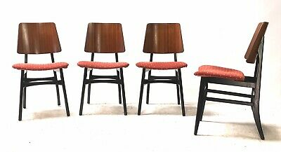 4 x Vintage Retro Mid Century 1960s Danish Era Teak & Black Dining Chairs