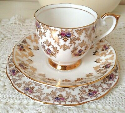 Vintage Queen Anne Bone China Trio Tea Cup Saucer Plate Pink Blue Yellow Gold
