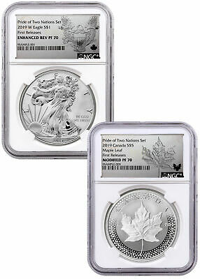 2019 US & CA 1 oz Silver Eagle & Maple Pride of Two Nations NGC PF70 FR SKU58578