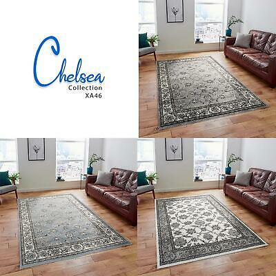 Small Large Blue Traditional Rugs Grey Cream Oriental Medallion Bedroom Carpets