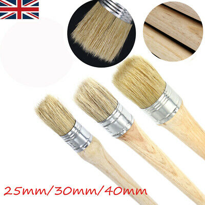 Glazing Pottery Home Decor 3 Pcs Chalk Paint Wax Brush Set Natural Bristle Round Paint Brushes 20mm 30mm 50mm The Best Tool for Furniture Waxing