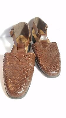 eded9773e Romano Shawn 9 Leather Flat Sandal US Size 8 Brown Ankle T-Strap Weave  Design