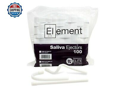 """100 PC ELEMENT Saliva Ejector White w/ White Tip Bendable Dental Disposable 6"""""""