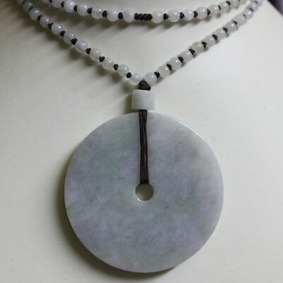 Certified Grade A Natural Jadeite Jade Lavender Green Big Circle Donut Pendant