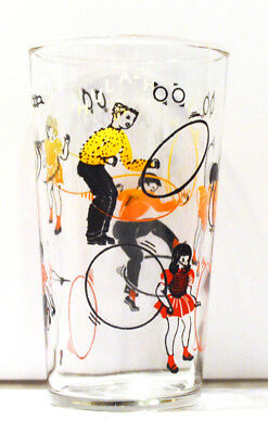 Set of 3 - Vintage Retro Kids and Hula-Hoops Tumblers by Dominion Glass