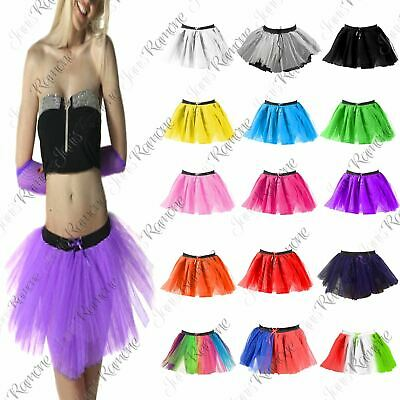 Womens 3 Layers Dance Hen Party Costume Fancy Dress Halloween Mini Tutu Skirt