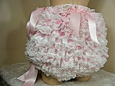 Adult Baby Sissy Allround Frilly Satin  Diaper Cover Panties Fancydress Cosplay