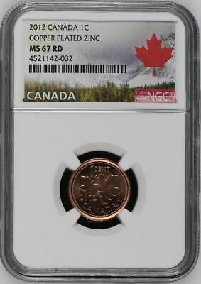 2012 Canada Cent 1C Copper Plated Zinc Ngc Ms67Rd - Top Pop!