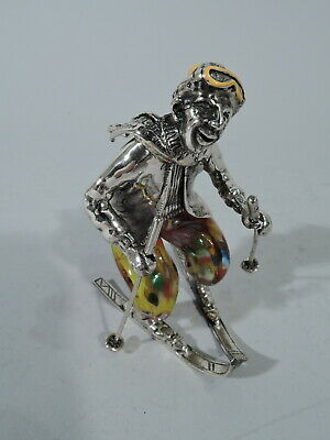 Sports Figurine - Skier Ski Figure -  Italian Sterling Silver & Murano Art Glass