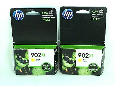Lot of 2 Genuine HP 902XL High Yield Yellow Ink T6M10AN OEM exp Mar & July 2019