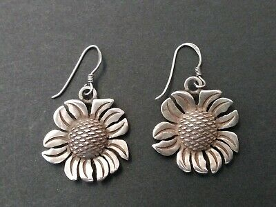 VINTAGE Sterling Silver 925 Sunflower Drop Earrings  hook style for pierced ears