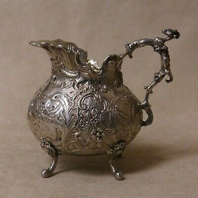 Sterling Silver Ornate Footed Cream Pitcher