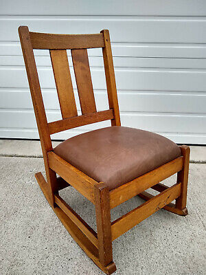 Antique Stickley Mission Oak Rocking Chair Gustav Rocker Arts Crafts Craftsman