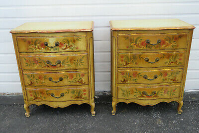Shabby Chic Hand Painted Pair of Dressers Side End Tables by John Widdicomb 9742