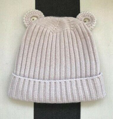 Blush Pink Bear Beanie Girls Size 18months - 3years Cashmere Merino Wool