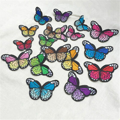 10PCS Embroidery Butterfly Sew Iron On Patch Badge Embroidered Set Dress P2F7