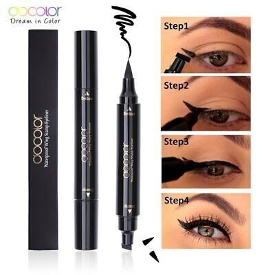 Docolor Black Liquid Eyeliner Stamp Marker Pencil Double-ended Eye Liner Pen