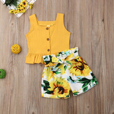 AU Toddler Kids Baby Girl Tops Crop Sunflower Short Pants Outfits Clothes Summer